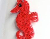Red Seahorse Pendant - Resin Dipped - Paper one of a kind CLEARANCE Eco Friendly Jewelry