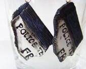 TARDIS Fragment Earrings - Doctor Who Police Box - Sterling Silver Earring Hooks