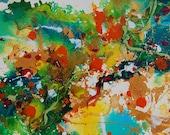 Original Painting Abstract Mixed Media Art Watercolour Ink Acrylic