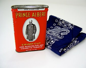 Red white black yellow Prince Albert tin comes with blue bandanna, pipe cigarette tobacco storage container for smoker, vintage gift idea