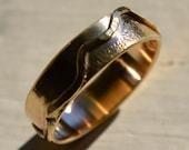 mens wedding band - solid 14k yellow gold handmade artisan designed wedding or engagement band - mountains - customized