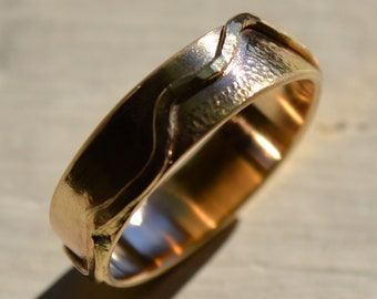 mens wedding band - solid 14k yellow gold handmade artisan designed wedding or engagement band - mountains - customized