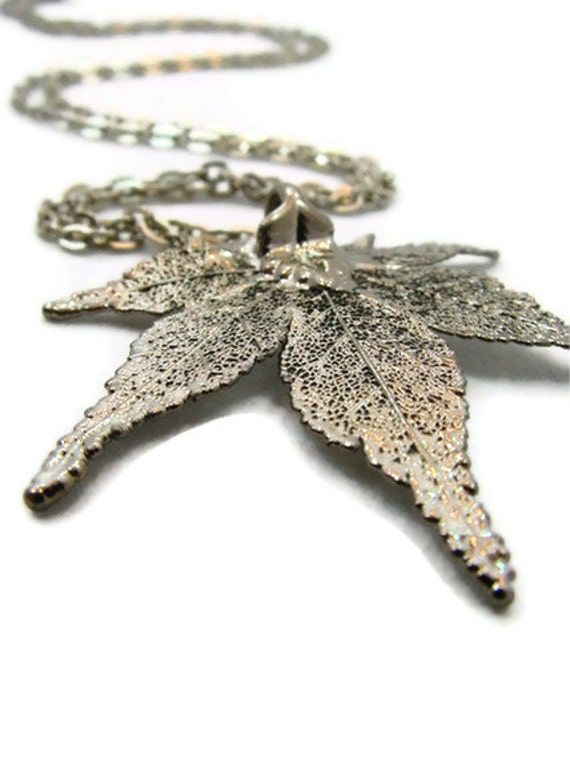 Leaf Necklace, Long Silver Necklace, Winter Fashion, Winter Jewelry
