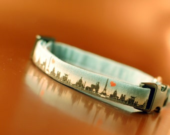 Paris Skyline Cat Collar with Eiffel tower charm