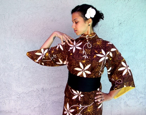 Vintage 60s Hawaiian Dress - Authentic Vintage 60s Hawaiian Cotton MAXI dress w/ Oriental Bell sleeves in Autumn shades of Brown and Gold