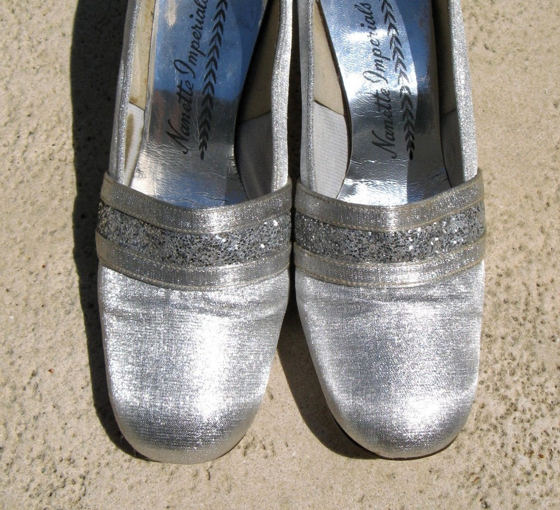 vintage prom shoes vintage 60s mid century silver lame