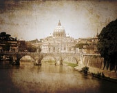 St.Peters Cathedral in Vatican City  Vintage Overlay 11x14 print