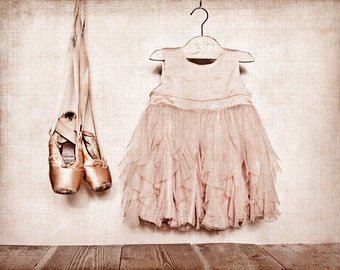 Vintage Ballet Slippers and dress Photo Print, Girls nursery decor, Ballet Decor, Ballet Prints, Paris, French Decor French Country