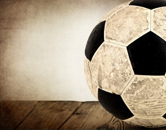 items similar to vintage soccer ball on wood half view. Black Bedroom Furniture Sets. Home Design Ideas
