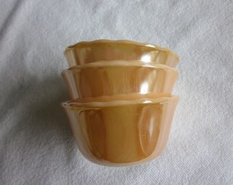 3 vintage Fire King Copper Tint Peach Lustre amber-glo custard cups