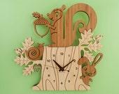 Squirrel Clock: Bamboo Woodland Animal Kids Clock Modern Nursery