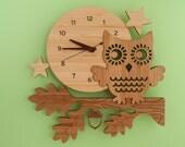 Owl Clock: Bamboo Wood Night Owl Kids Clock Modern Baby