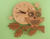 Bamboo Owl Wall Clock: Modern Woodland Baby Nursery Owl Decor