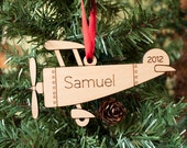 Wooden Airplane Ornament Baby's First Christmas Personalized Kids - graphicspaceswood