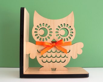 Owl Bookend: Wood Modern Baby Nursery Children