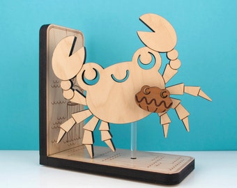 Wood Crab Bookend: Kids Wooden Ocean Fish Clam Book End