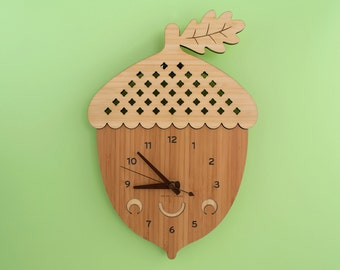 Happy Acorn Clock: Wood Bamboo Modern Wall Nursery Kids Clock