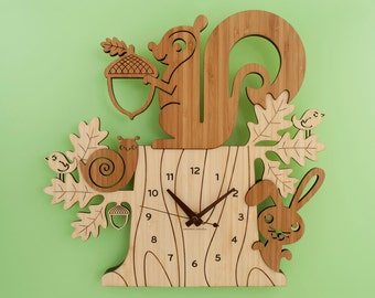 Squirrel Clock Bamboo Woodland Animal Kids Clock Modern Nursery
