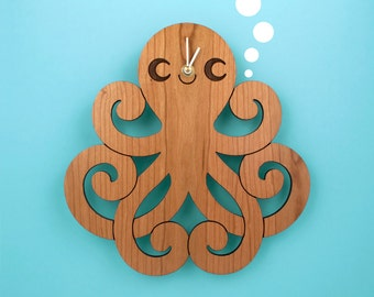 Wood Octopus Wall Clock: Kids Ocean Nursery Theme
