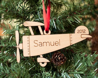 Wooden Airplane Ornament Baby's First Christmas Personalized Kids