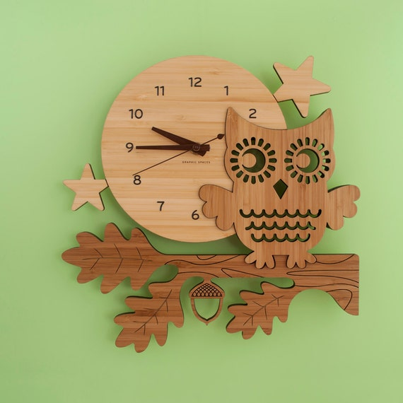 Wall Clock Owl Design : Owl clock bamboo wood night kids modern baby