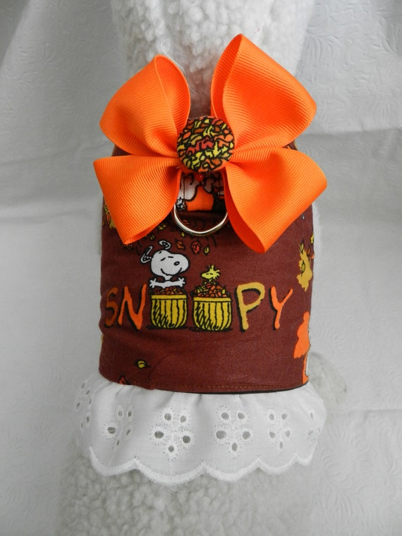 Peanut SNOOPY & WOODSTOCK Autumn Thanksgiving Harness Vest with Bow. Perfect Item for your Cat, Dog or Ferret. All Items Are Custom Made.