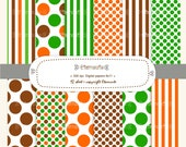 Colourful stripe an polka dots digital paper scrapbooking , bright , orange, green brown E- 099