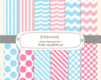 50%SALE, Baby blue and pink digital paper scrapbooking , polka dots, chevron, zig zag, stripe, pink, blue  E- 107