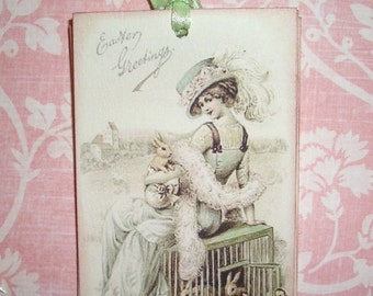 Easter Tags-  Vintage  image - Victorian Women and Bunnies - Wish Cards - Wish Tree Tags - Shower Tags - Set of Six