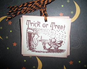 Halloween Tag - Winnie The Pooh and Tigger - Trick or Treat - Set of Six