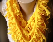 Upcycled T-Shirt Scarf - Infinity Necklace - Yellow - Ribcage Style