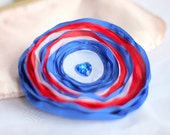 CLEARANCE - all must go, Fabric Brooch Red Royal Blue White Flower Fabric brooch, Flower hair clip, Flower Hair clip, Heart Button