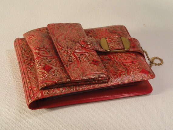 Vintage Red and Gold Pattern Wallet 1950s 1960s retro