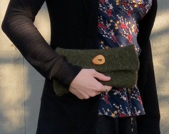 Rustic Wool Felt Clutch Purse in olive green- natural wood button