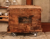 Vintage Kodak Crate Adapted to Stool on Casters
