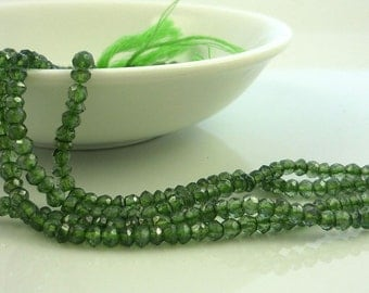 Awsome mystic green quartz faceted rondelle beads 3mm 1/4 strand