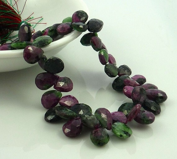 SALE Ruby in zoisite faceted briolette beads 10-12mm 1/4 strand