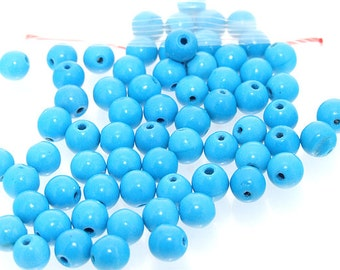 65Beads Charm 6mm blue turquoise round beads Gemstone Loose Beads