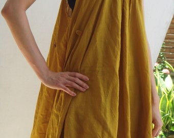 D10, Swan Yellow Cotton Dress, yellow dress