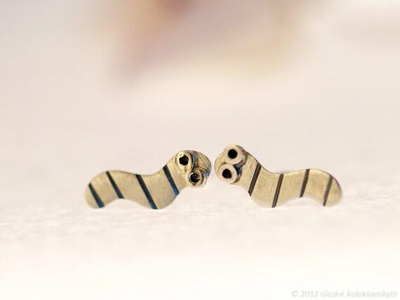 WORM Sterling Silver Stud Earrings Mini Zoo series