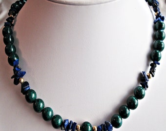 Green Fossil Stone, Lapis Chips & Gold Filled Necklace Handmade