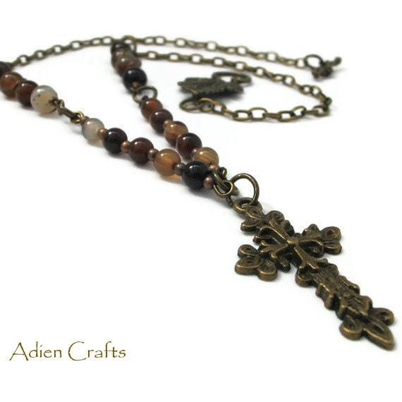 Bronze Cross Necklace Brown Banded Agate Autumn Fall Colours Pendant