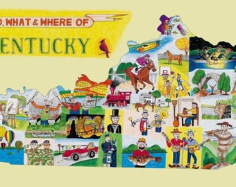 The Who, What and Where of Kentucky postcards pack of 10 signed by artist