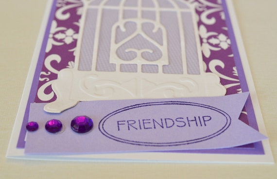 Friendship Card Purple Birdcage Thinking of You Handmade Card plus five grommet tags in black