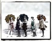 Digital Vintage Photograph of Bathing Beauties with umbrellas