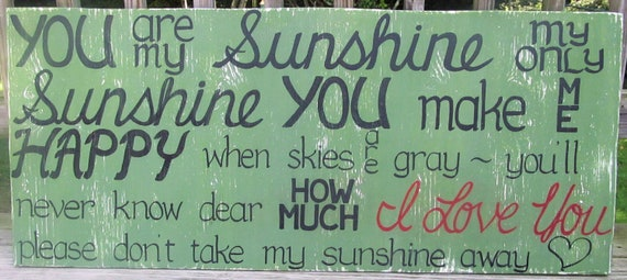You are my Sunshine SIGN Subway Distressed Olive Green Handmade Hand-painted Wooden 18x42 WHAGN Made to Order