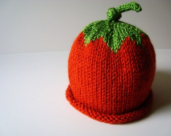 Pumpkin Knit Hat with Rolled Edge - Infant/ Toddler Sizes