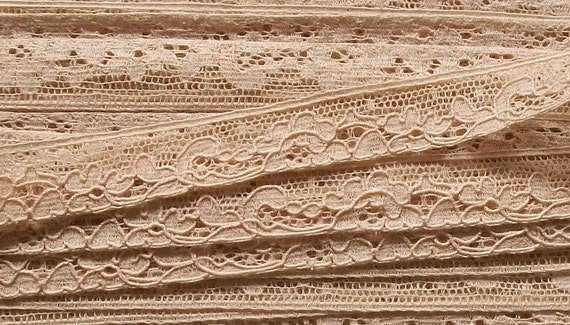 Length of Antique French Lingerie Oyster Lace Trim edging straps for Underwear