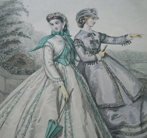 Antique French Litho Print Fashion Plate 1860s Colour Paris Style for Young Ladies