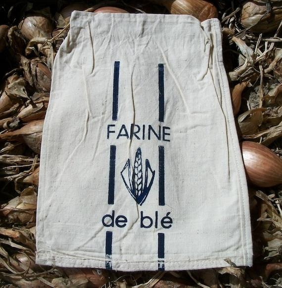 Vintage French White 1kg Flour Sack white Linen bag for farine de ble - wheat flour